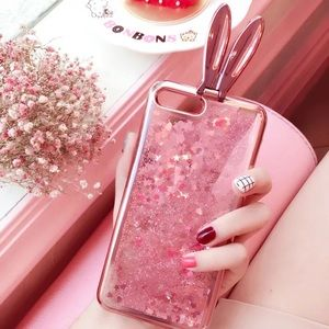 iPhone 7 Pink Bunny Girl Glitter Sands Phone Case